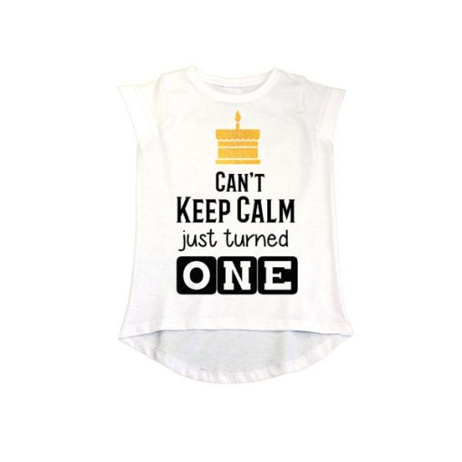 Can't Keep Calm just turned one girls White tee