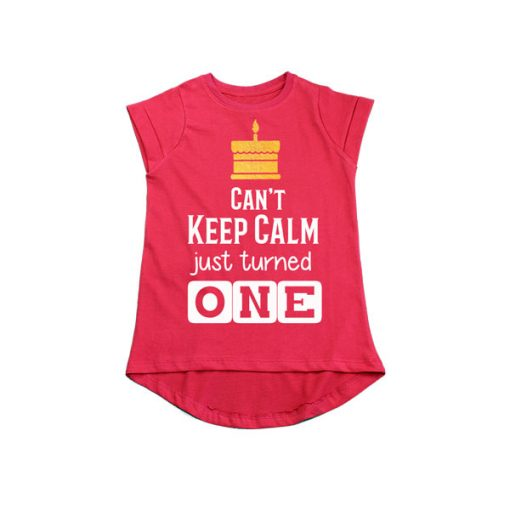 Can't Keep Calm just turned one girls Red tee