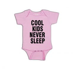 Cool kids never sleep Baby Romper Pink