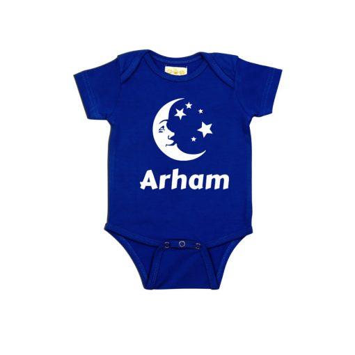 Eid Baby Name Baby Romper Blue