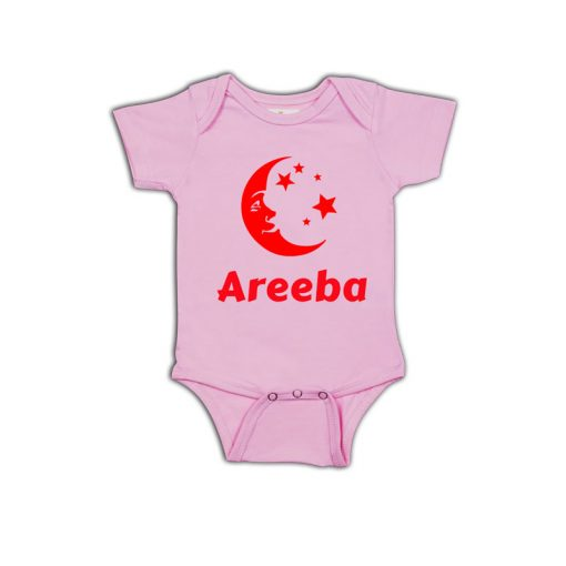 Eid Baby Name Baby Romper Pink