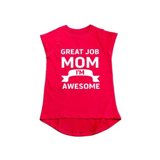 Great Job MOM Girls T-Shirt Red