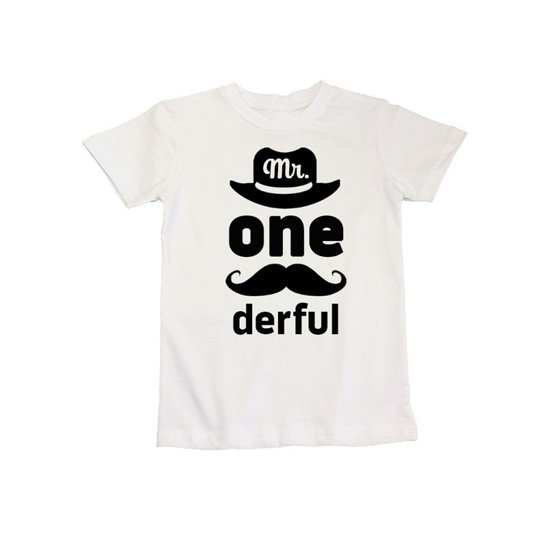 Mr Onederful 1st Year Birthday Celebration T Shirt White