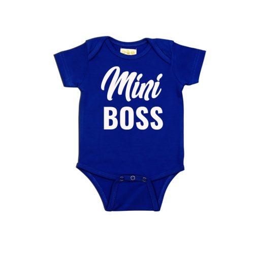 Mini Boss Design Baby Romper Blue