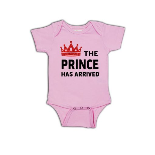 Prince has arrived Baby Romper Pink