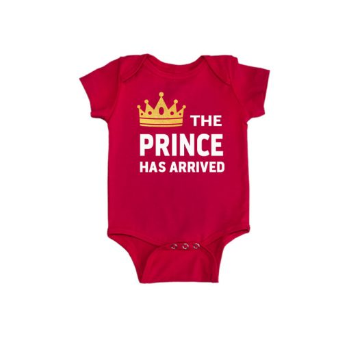 Prince has arrived Baby Romper Red