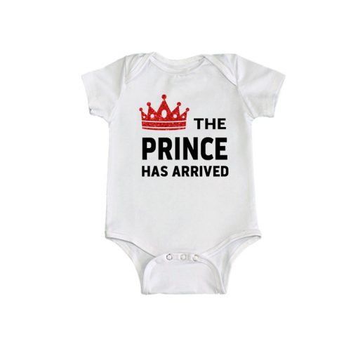 Prince has arrived Baby Romper White