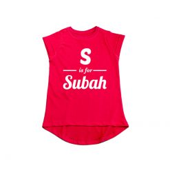 S is for Customized Name Girls T-Shirt Red