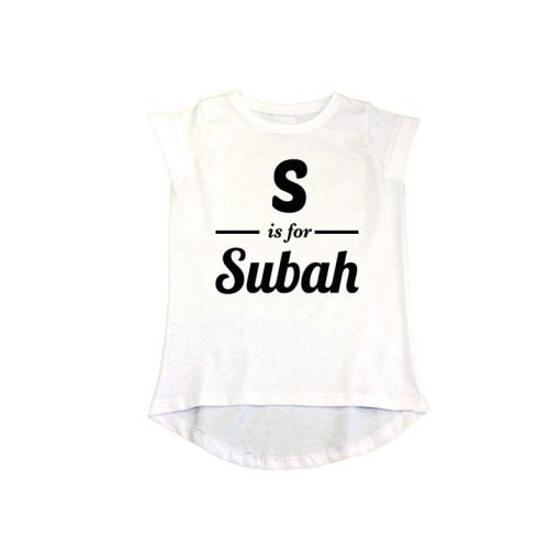 S is for Customized Name Girls T-Shirt White