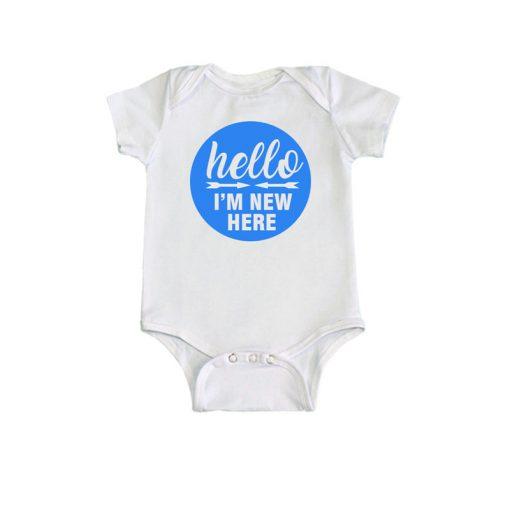 I Am New Here Baby Boy Romper white