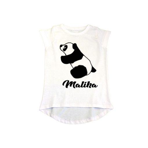 Animal Series Panda with Name Girls T-Shirt white