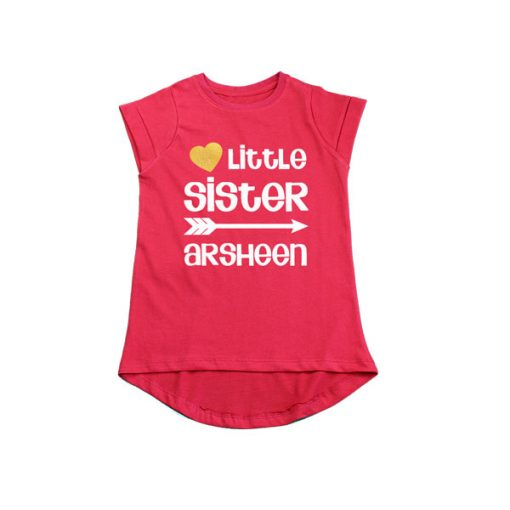 Little Sister with Custom Name Girls T-Shirt red