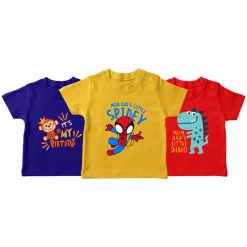 birthday spiderman dino t-shirt for kids