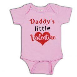 daddys valentine pink romper unisex boys girls