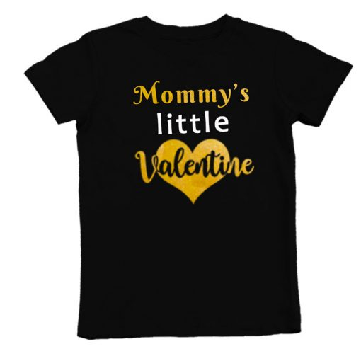 mommys little valentine black unisex tshirt boys girls