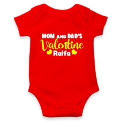 Mom and Dad's Valentine red romper