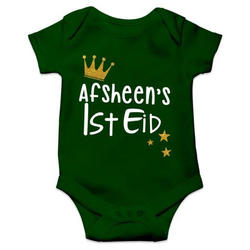 1st eid green romper