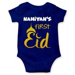 First eid celebration blue romper