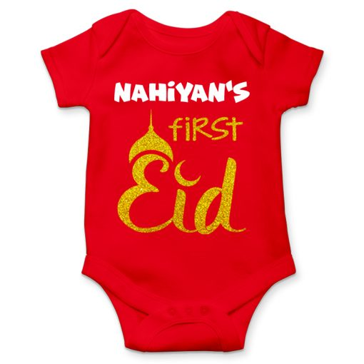 First eid celebration red romper