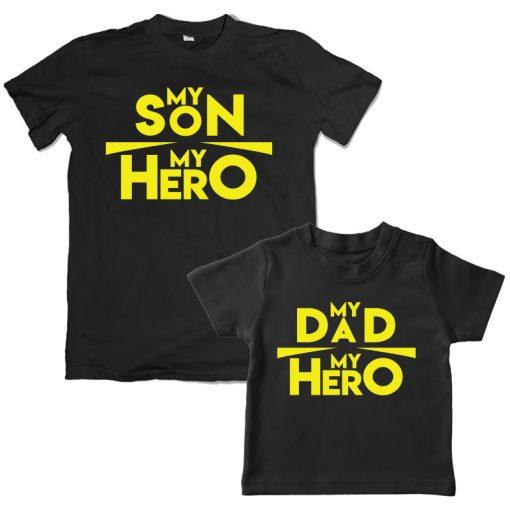 My Son my Hero My Dad my Hero Black t-shirt