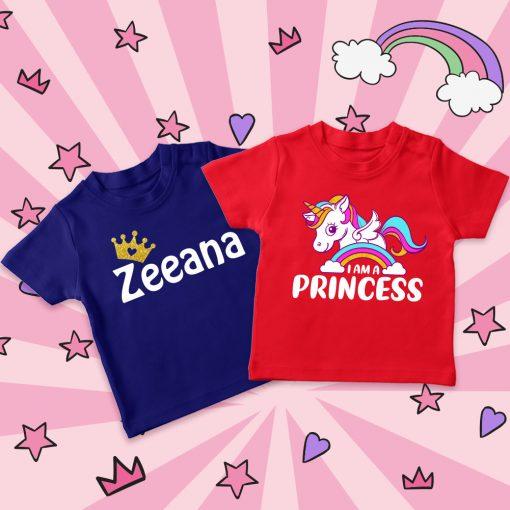 customized name and unicorn t-shirt