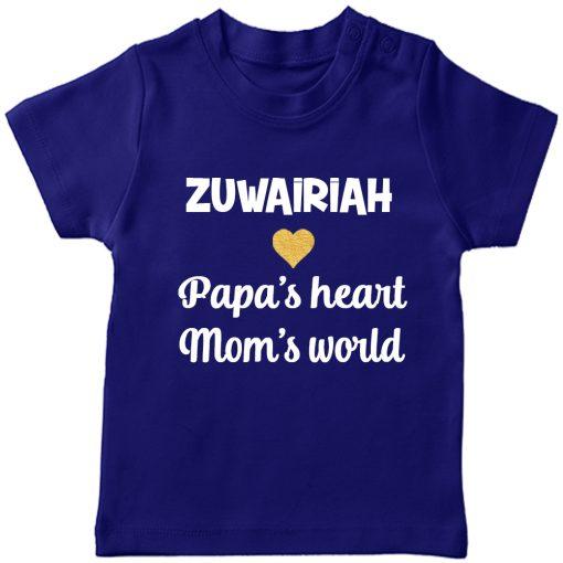 Papa's heart, mom's world T-Shirt Blue