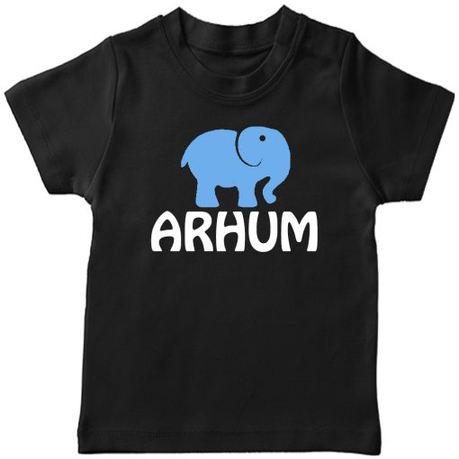 Animal-Series-Elephant-with-Customized-Name-T-shirt-Black