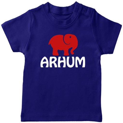 Animal-Series-Elephant-with-Customized-Name-T-shirt-Blue