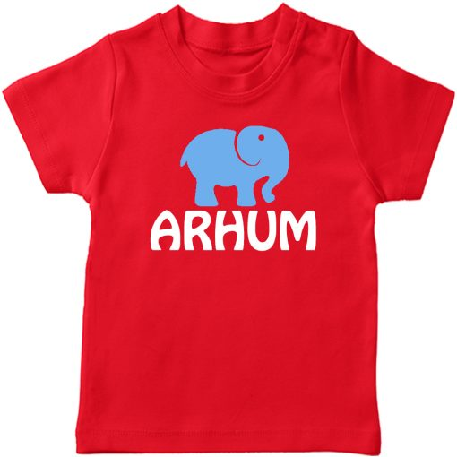 Animal-Series-Elephant-with-Customized-Name-T-shirt-Red
