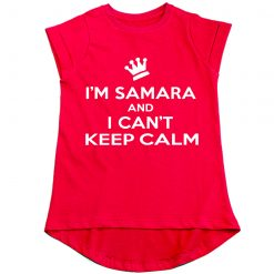 Can't-keep-calm-with-Customized-Name-Girls-T-Shirt-Red