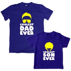 Coolest Dad Son Matching Combo T-Shirt Blue
