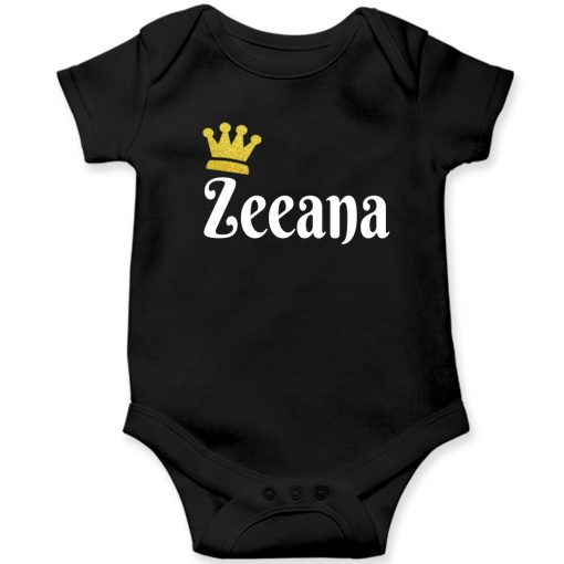 Customized-Name-with-Crown-Unique-Baby-Romper-Black
