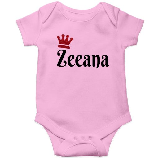 Customized-Name-with-Crown-Unique-Baby-Romper-Pink