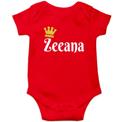 Customized-Name-with-Crown-Unique-Baby-Romper-Red