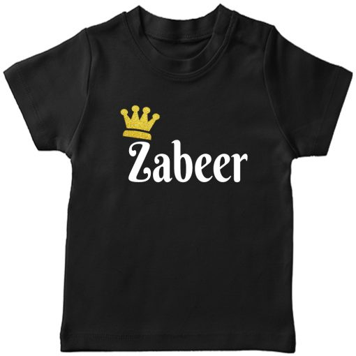 Customized-Name-with-Crown-Unique-T-Shirt-Black