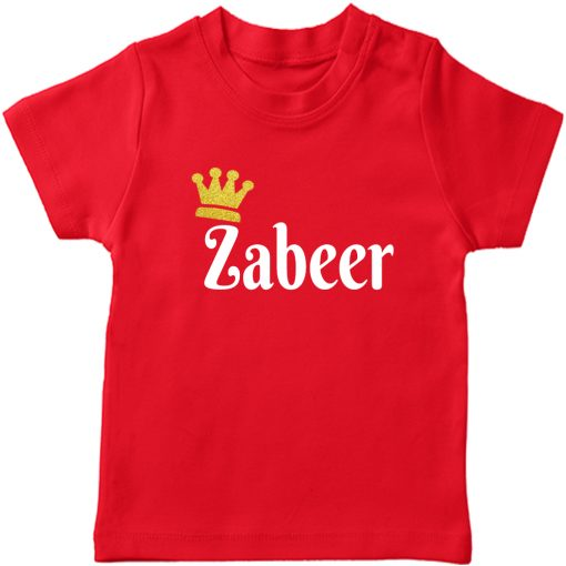 Customized-Name-with-Crown-Unique-T-Shirt-Red