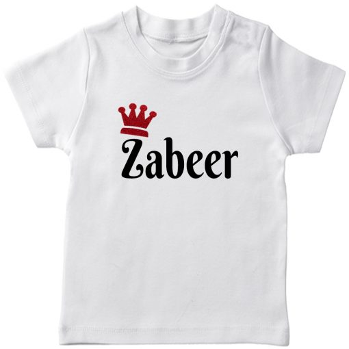 Customized-Name-with-Crown-Unique-T-Shirt-White
