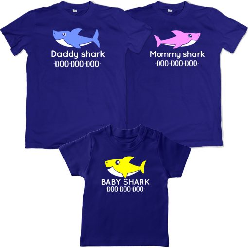 Daddy Mommy Baby shark family matching combo t-shirt