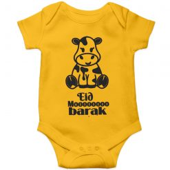 Eid Moooobarak Baby Romper Yellow