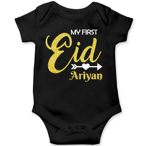First-Eid-Designed-Romper-For-Baby-Black