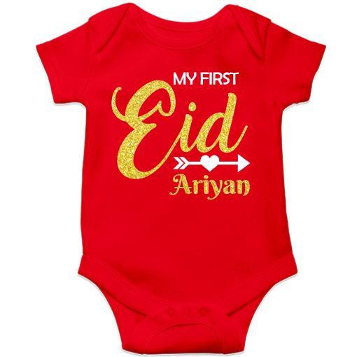 First-Eid-Designed-Romper-For-Baby-Red