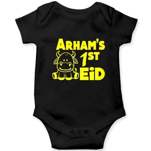 First-Eid-Unique-Baby-Customized-Romper-Black