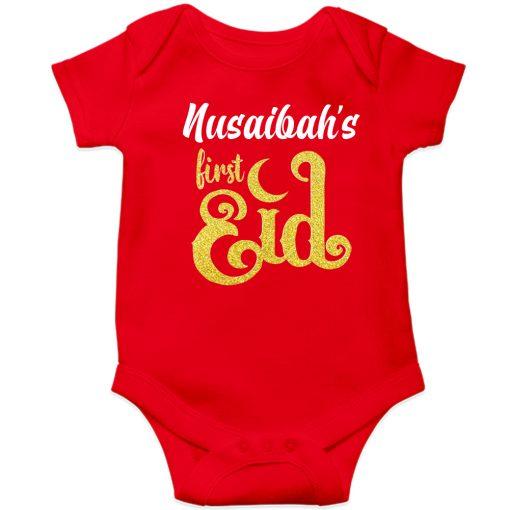 First-Eid-Unique-Baby-Romper-Red