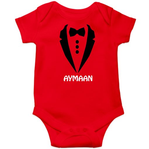 Gentleman-Customized-Name-Baby-Romper-Red