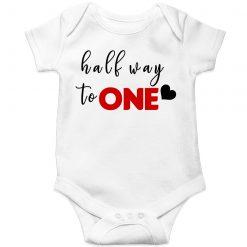Half-Way-To-One-Birthday-Unique-Baby-Romper-White