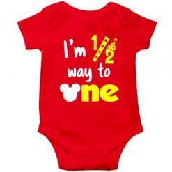 HalfBirthday-baby-Romper-Red