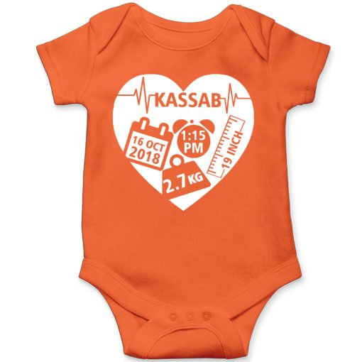 Heart shape Birth facts Baby Romper Orange