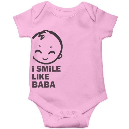 I smile like baba Baby Romper Pink
