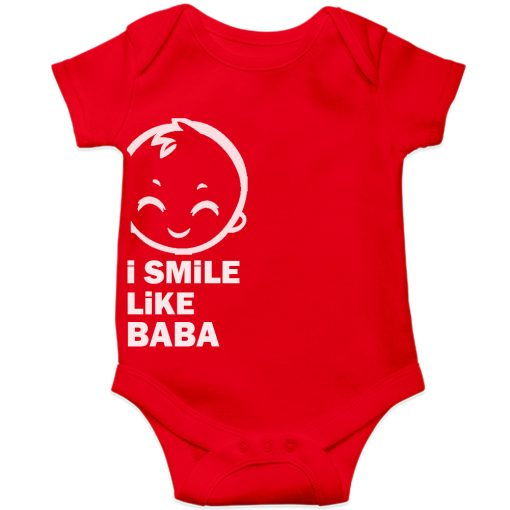 I smile like baba Baby Romper Red