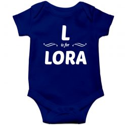 L is for Lora Customized Name Baby Romper Blue